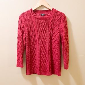 Talbots Red 3/4 Sleeve Knit Cozy Petite Sweater-S